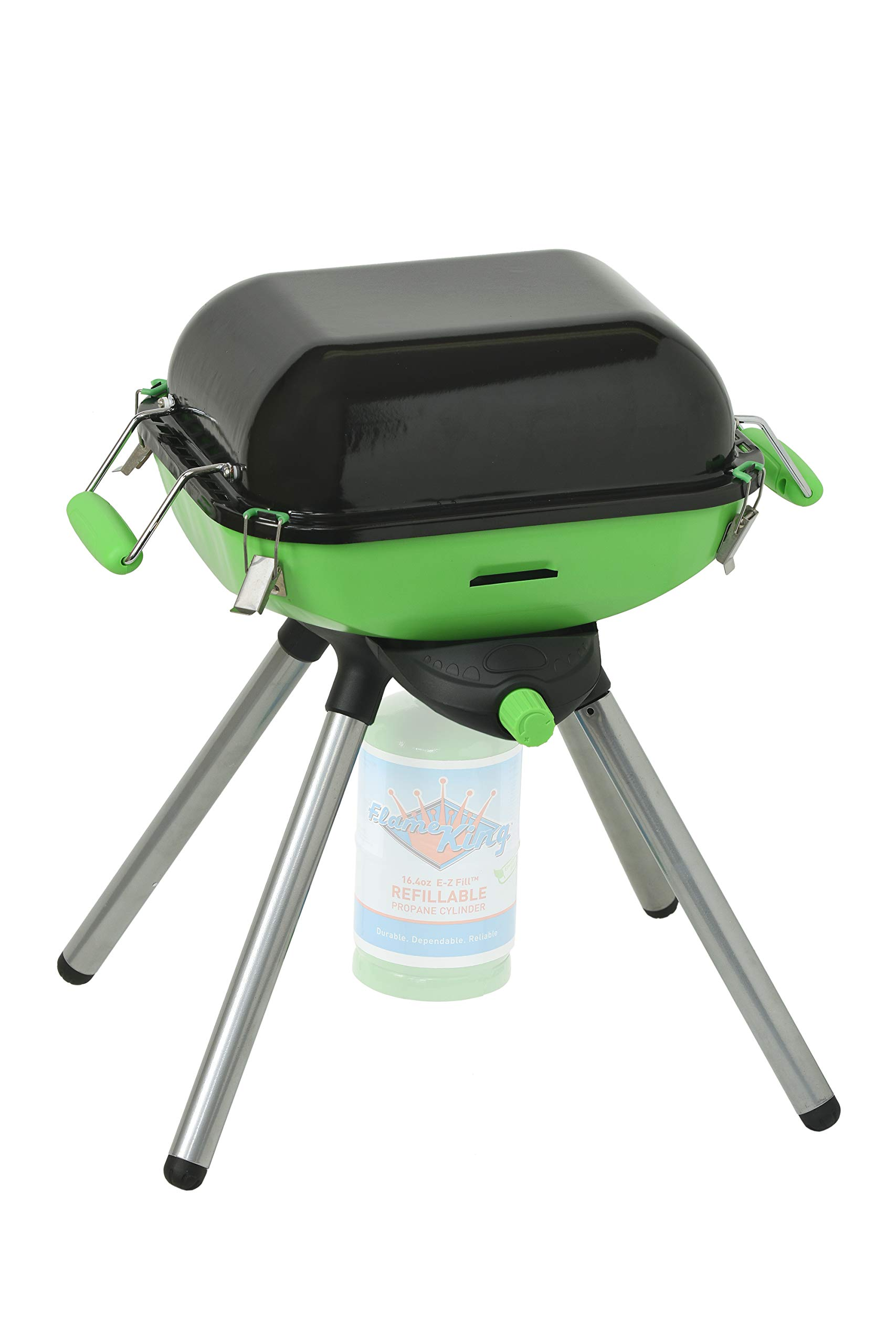 Flame King YSNVT-301 Multi-Function Portable Propane BBQ Grill and Cam, Green