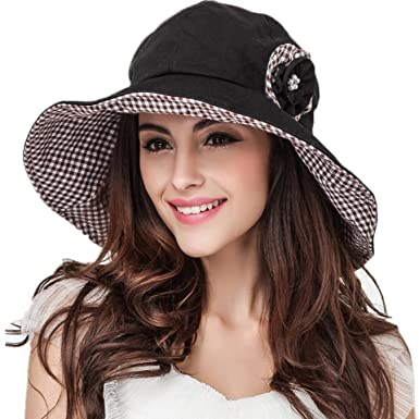 6a0623a7 Image Unavailable. Image not available for. Color: Retro Large Brim  Foldable Summer Hats for Women Cotton ...