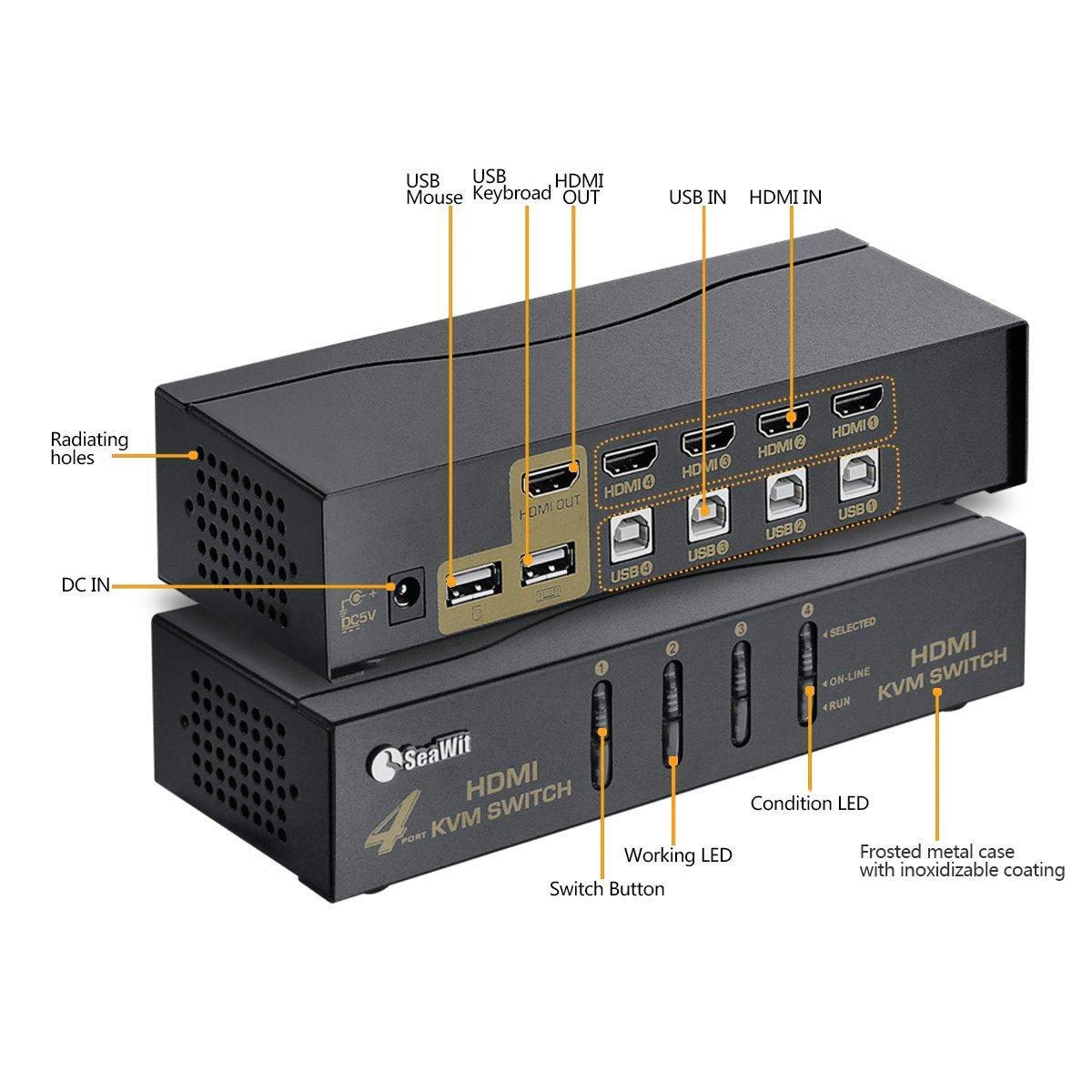 71lM6KX1Y8L._SL1200_ amazon com sea wit hdmi kvm switch 4 ports 4 sets of hdmi & usb  at fashall.co