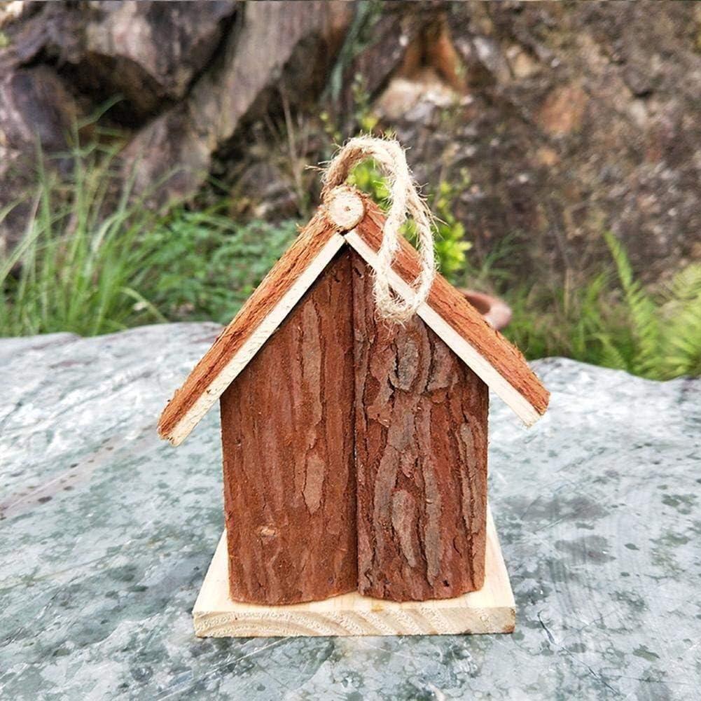 Wmchiwan Pajarera Casa de p/ájaros de Madera de artesan/ía Colgador de p/ájaro Inclinado Doble de Abeto Chino Casa de Nido Colgante