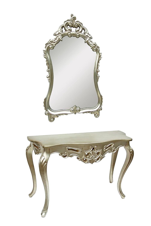 derrys Bella Konsole und Spiegel Set, Holz, Antik Silber