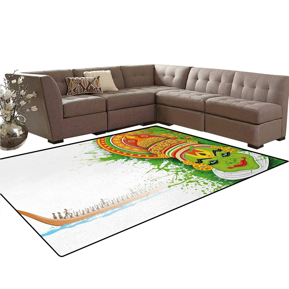 Asian,Floor Mat,Ritualistic Ethnic Asian Ceremonial Dance Figure and Boat on River Illustration,Living Dining Room Bedroom Hallway Office Carpet,Green and White,5'x6'