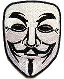 Parches - V For VENDETTA Anonymous - blanco - 6.5x8.5cm - termoadhesivos bordados aplique para ropa