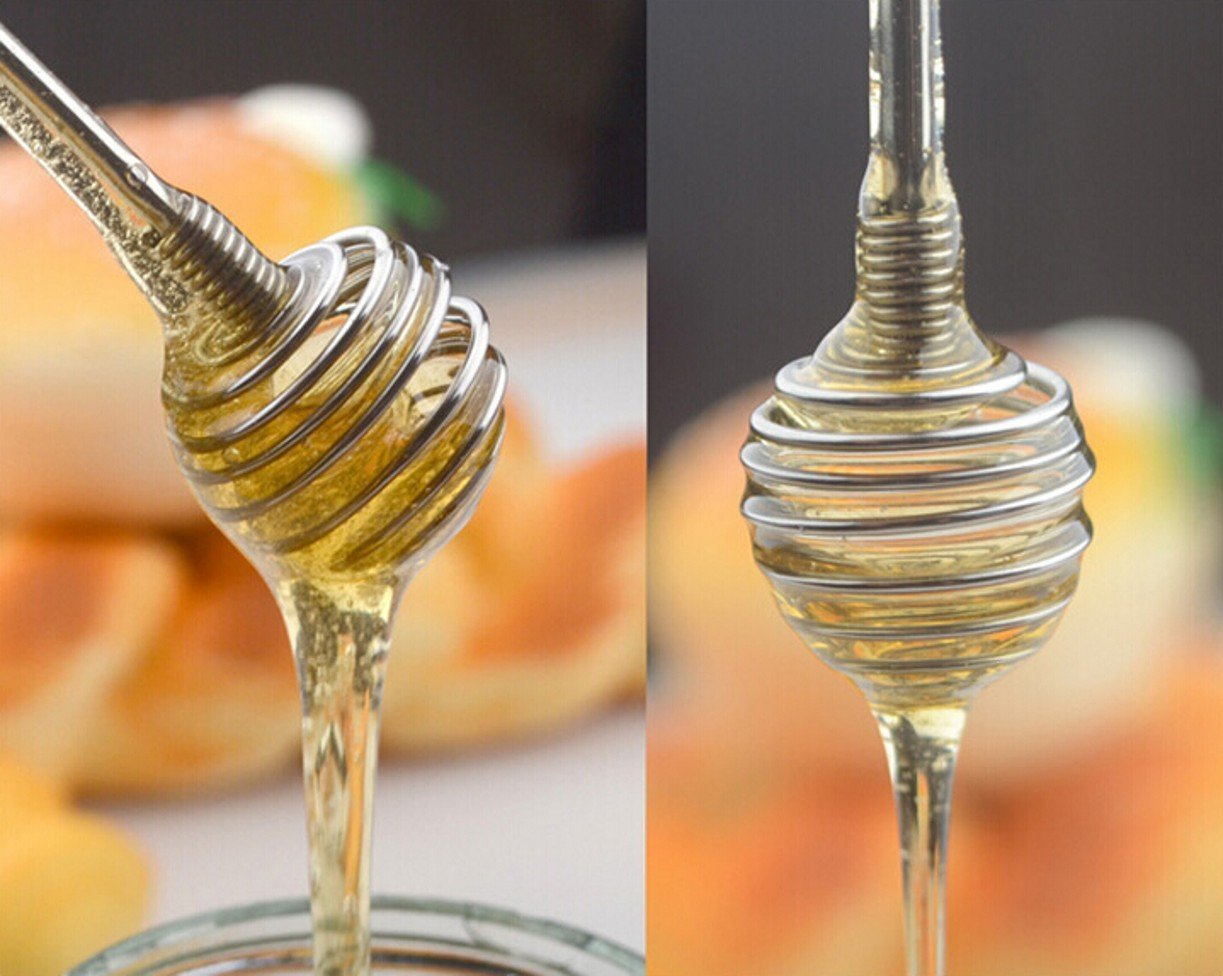 WellieSTR (8 Inch) Stainless Steel Honey Dipper Stick Server for Honey Jar Dispense Drizzle Honey (24)