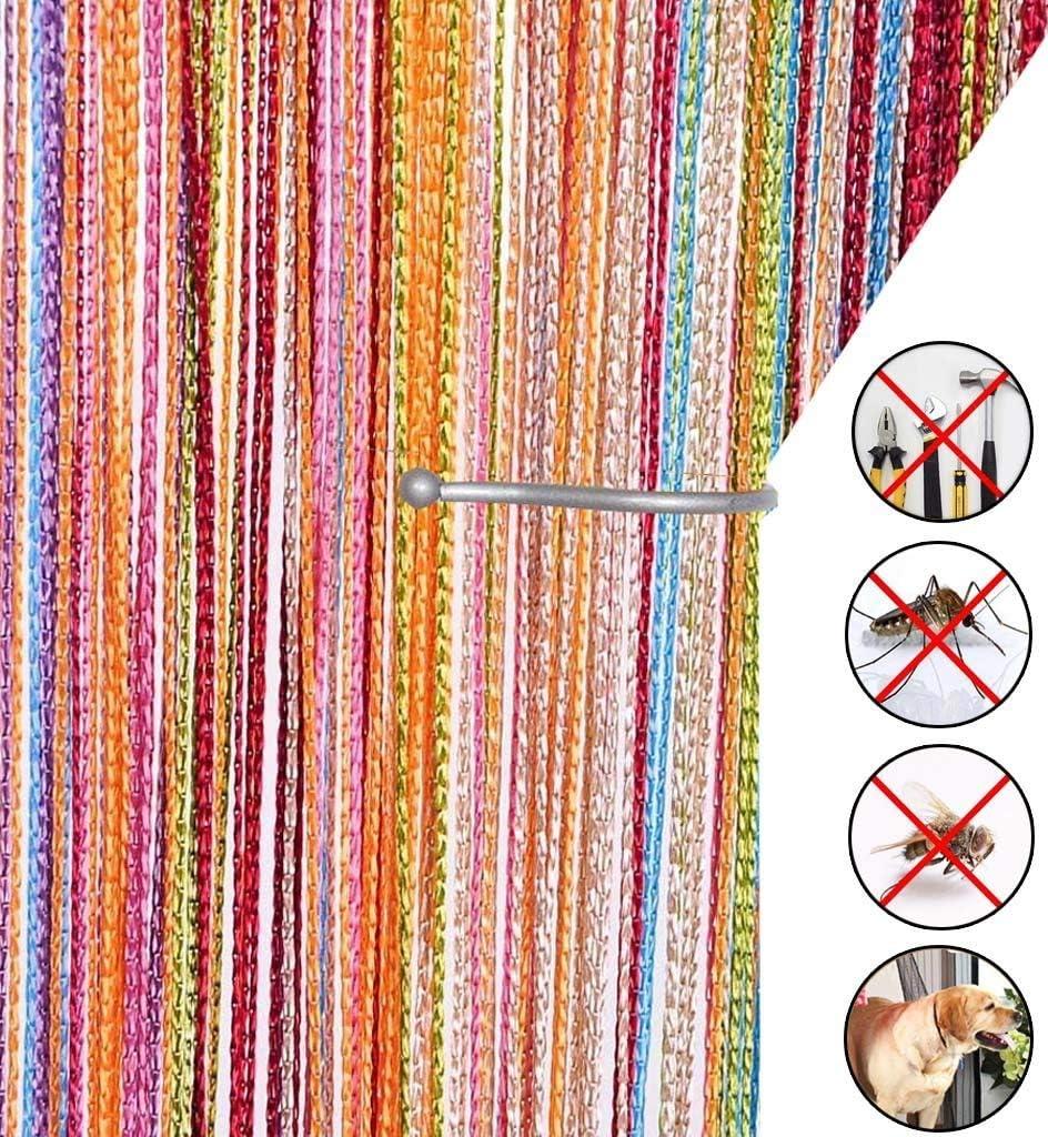 AIZESI Cortina retro lisa con flecos para puerta protectora contra insectos, moscas, para divisor puertas o ventanas (cadena de mosquitera insecto) 90 x 200 cm Un arcoiris
