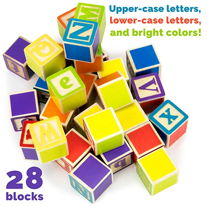 Industrious Wood Alphabet Blocks ~ Lot Of Vintage Wooden Matching In Colour Toys & Hobbies