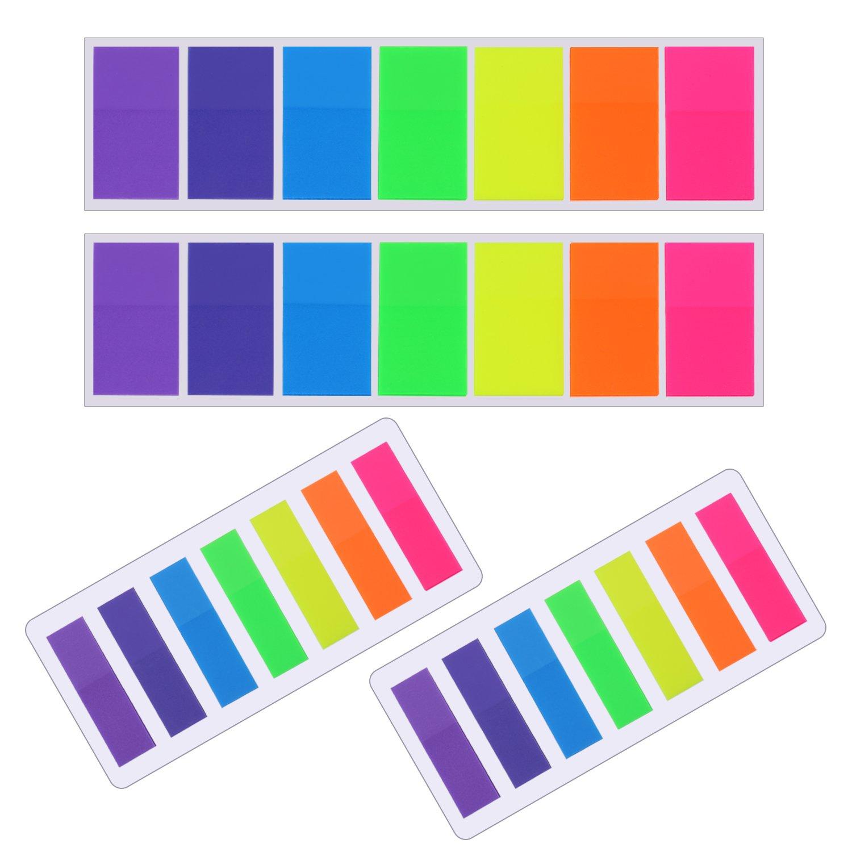 Pangda 560 Pezzi Segnapagina Adesivi Linguette Segnapagina Text Strisce di Highlighter Scrivibile Etichette Pagina Marcatore, 2 Formati, 7 Colori, 4 Set