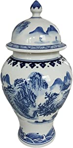 JDZJYBQX Chinese Ginger Jar Hand Paint Landscape Blue and White Porcelain Ceramic Temple Jar for Home Decor and Gift,Jingdezhen Jar,H15.74inches