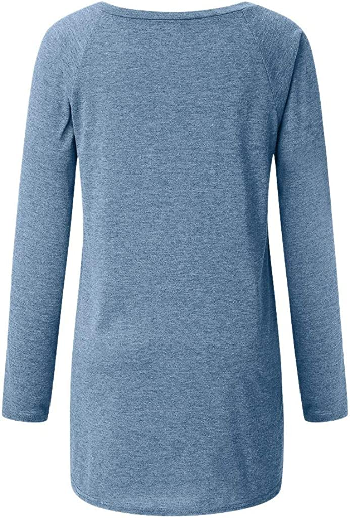 Weginte Women Shirts and Blouses Be Still Letter Printing Sweatshirt Casual V-Neck Daily Pullover Long Sleeve Tunic Tee Top
