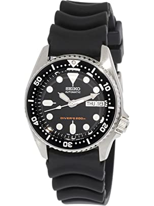 Seiko Men's SKX013K Black Rubber Automatic Watch with Black Dial Men's Watches at amazon