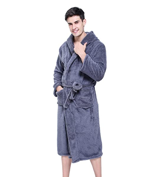 KeepMoving Women s Men s Super Soft Warm Bath Spa Robe Coral Fleece Hooded  Bathrobe  Amazon.ca  Clothing   Accessories 3f51a953a