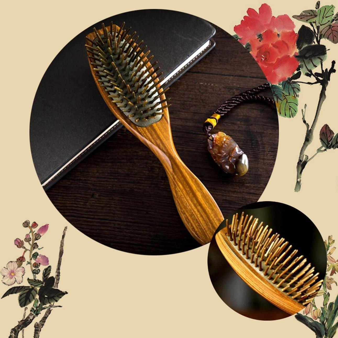 1 Pack Comb Hairbrush Massage Antistatic Health Natural Green Tan Airbags Hair Brush Combo Pocket Long Round Handle Holder Pleasure Popular Beard Grooming Girl Travel Kit 71lMCSflgSL