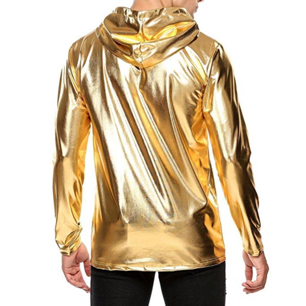 YiZYiF Men's Shinny Leather Metallic Long Sleeve Windproof Hoodie Pullover Sweatshirts Gold Large by YiZYiF
