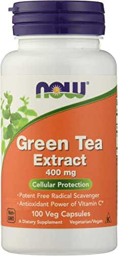 NOW FOODS Green Tea Extract 400mg 60 Capsules, 100 CT