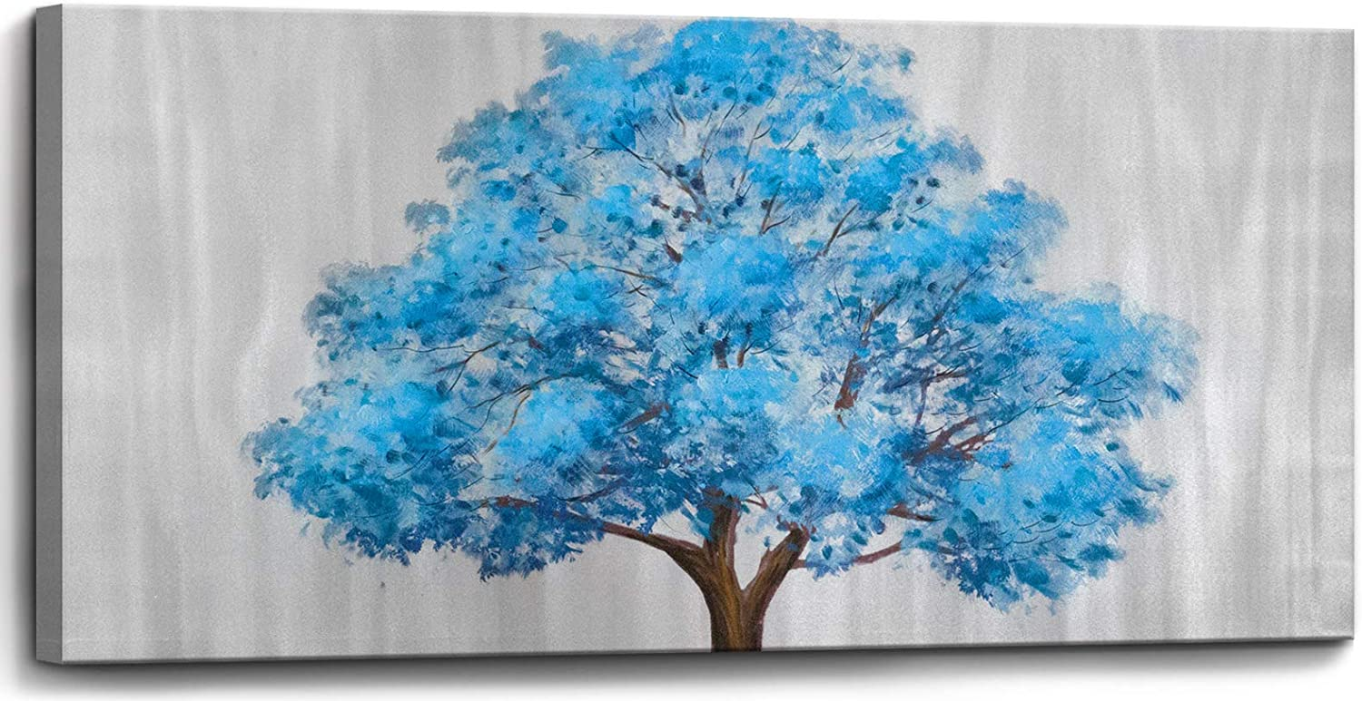 Large Canvas Art Work Wall Art for Living Room Framed Bedroom Wall Decor Blue Tree Pictures 100% Hand-Painted Oil Paintings Modern Popular Wall Decorations Blue Tree on Silver Background Size 16x32