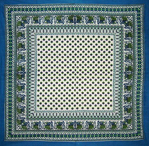Indian Print Square Cotton Tablecloth 60