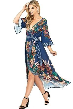 1ef8efcd40 Flying Tomato Women s Juniors Floral Surplice Hi-Lo Dress (M
