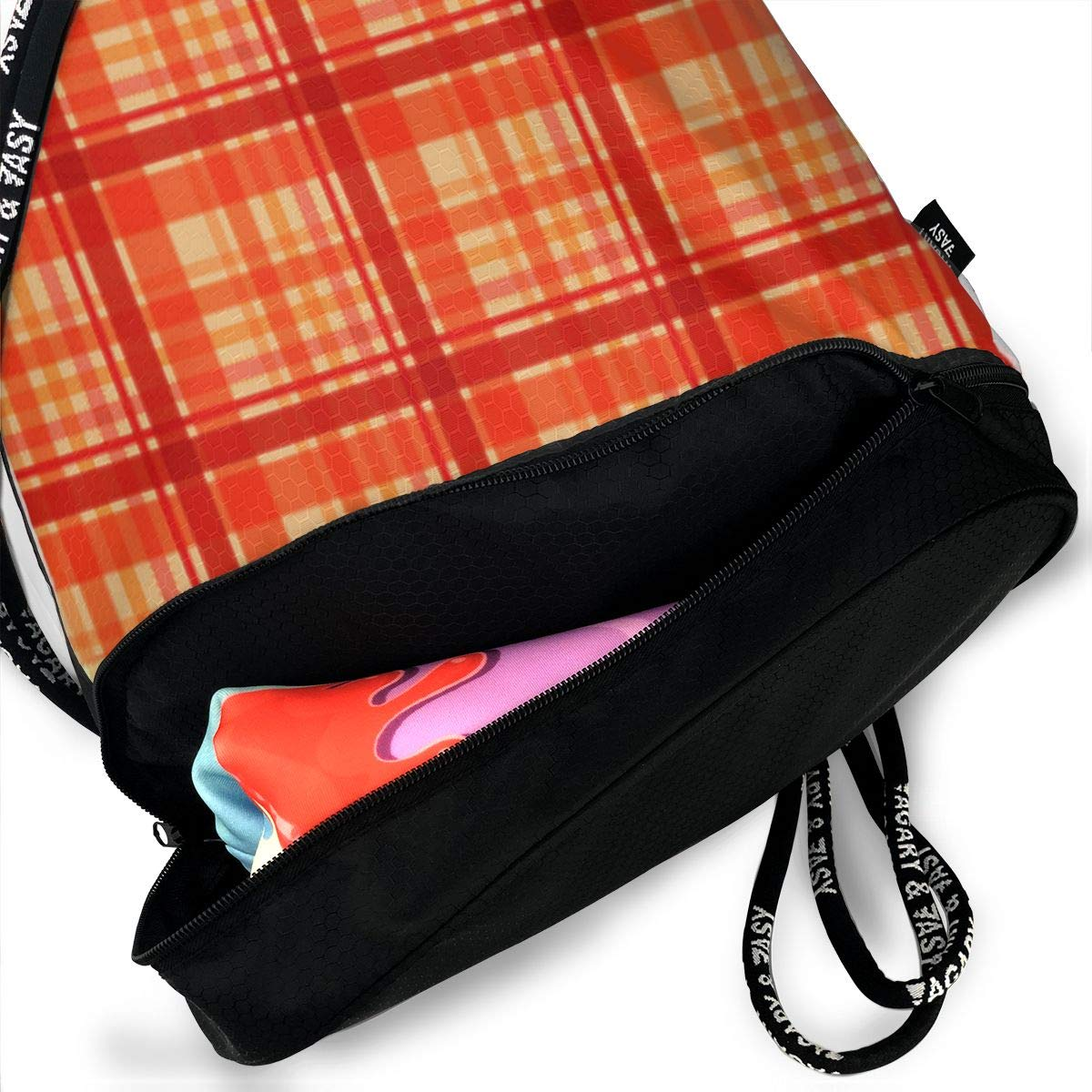 HUOPR5Q Classic Red Plaid Drawstring Backpack Sport Gym Sack Shoulder Bulk Bag Dance Bag for School Travel
