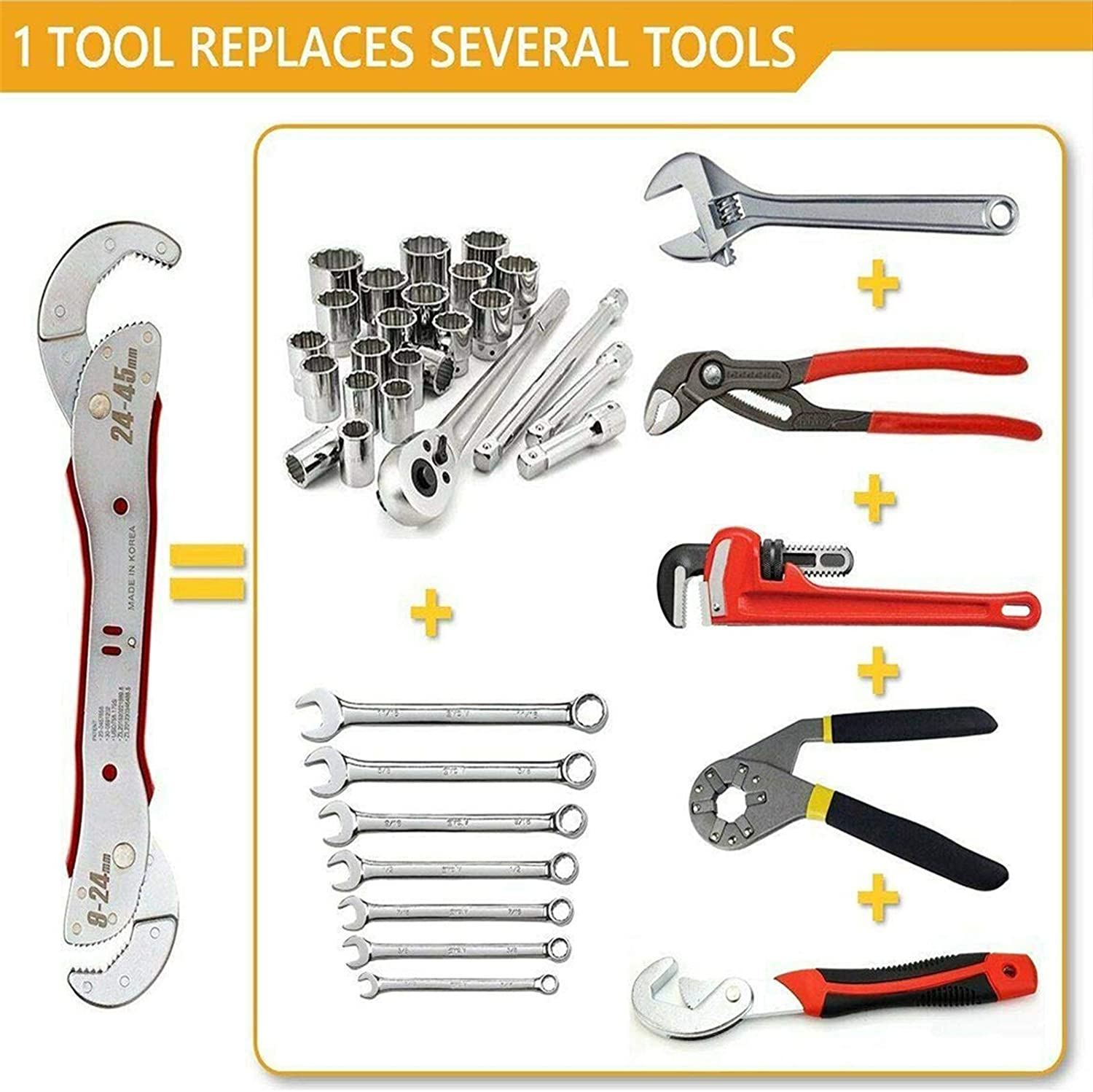 9-45mm Adjustable Universal Wrench Spanner Tool Home Hand Tool Ratchet Key Set Wrench Multi-Functional Universal Spanner (Color : 12PCS RED) E