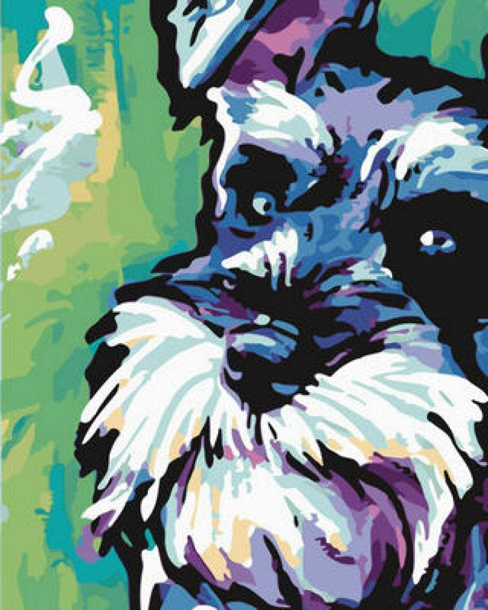 Pintura por Numeros Perro Abstracto con Pintura Acrílica para Decoración del Hogar Pintar por Números para Niños Adultos Kit Sin Marco 40,6X50,8 Cm