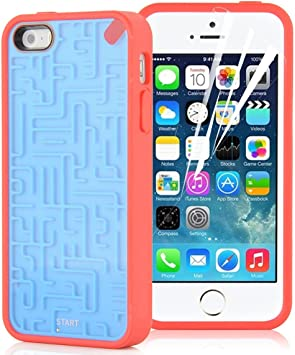 JAMMYLIZARD | Coque de jeux labyrinthe pour iPhone 5 5s, Bleu