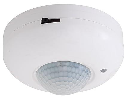 Electraline 58414 Detector de Movimiento para Techo con Sensor crepuscular, Color Blanco