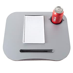 Laptop Buddy Gray Cushion Desk with Pen and Cup Holder 72-698005