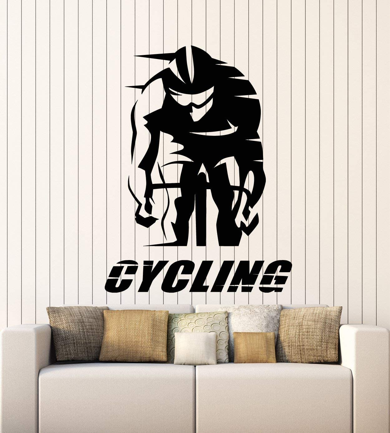 DesignToRefine Vinyl Wall Decal Cycling Words Cyclist Race Bike Sport Art Stickers Mural Large Decor (g1095) Black