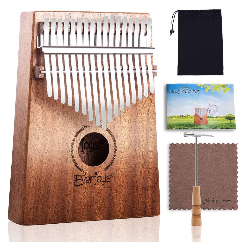 Kalimba Mbira Sanza - 17 Keys Thumb Piano Beginner Set with How to Play Songbook, Polishing Cloth, Carrying Bag Everjoys A027