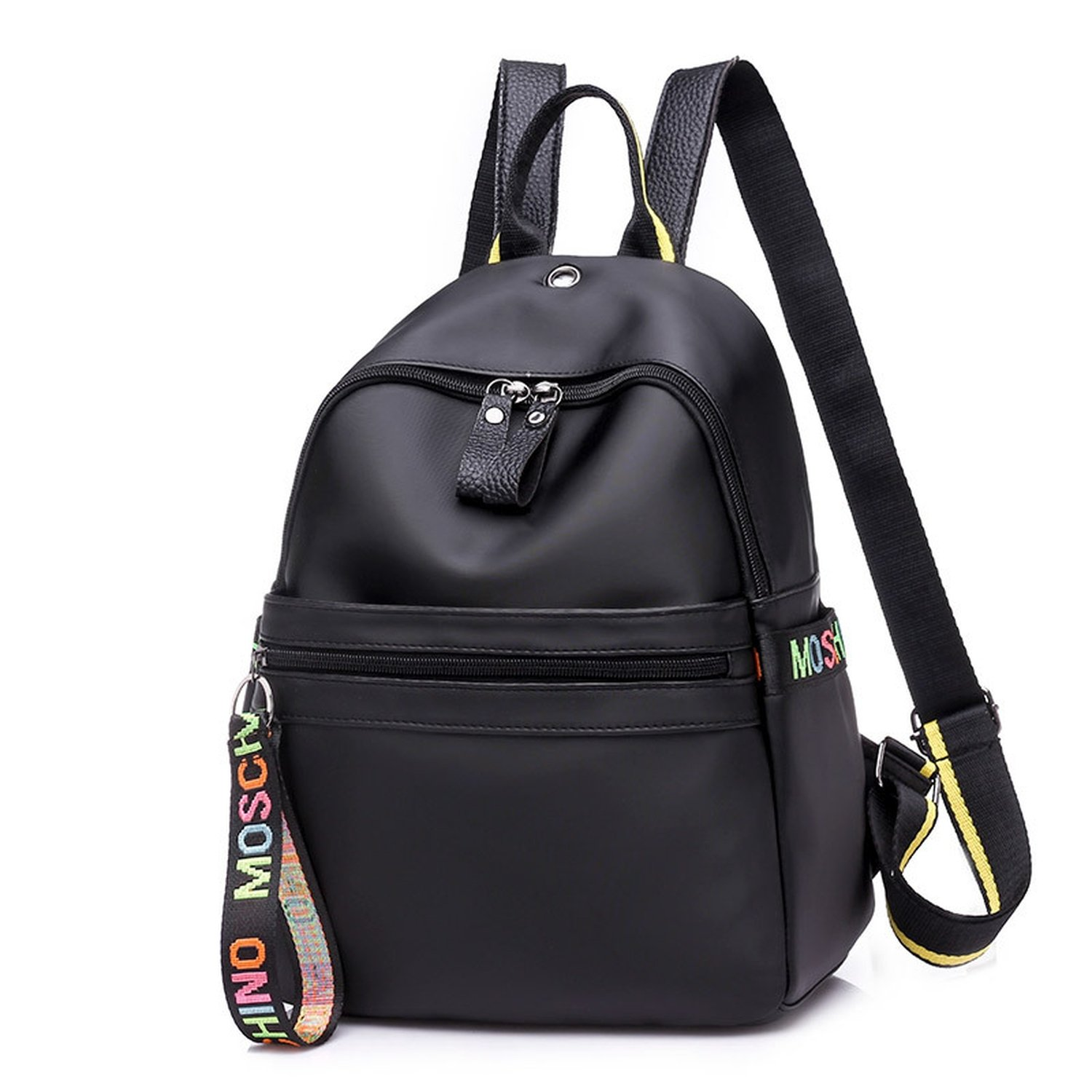 Nylon cloth shoulder bag 2018 new backpack color letters wild student backpack,Colorful tape