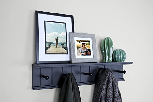 Ballucci Wooden 5 Hooks Entryway Hanging, Storage or Display Stand, 24 , Black