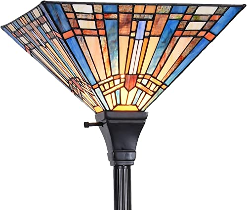 Tiffany Style Reading Floor Lamp Blue Orange Stained Glass Dragonfly Lampshade in 64 Inch Tall Antique Arched Base for Girlfriend Bedroom Living Room Lighting Table S168 WERFACTORY