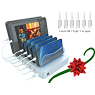 Hercules Tuff Charging Station for Multiple Devices - Phones and Tablets - Short Charger Cables Included (Silver - 6 Mixed Cables)
