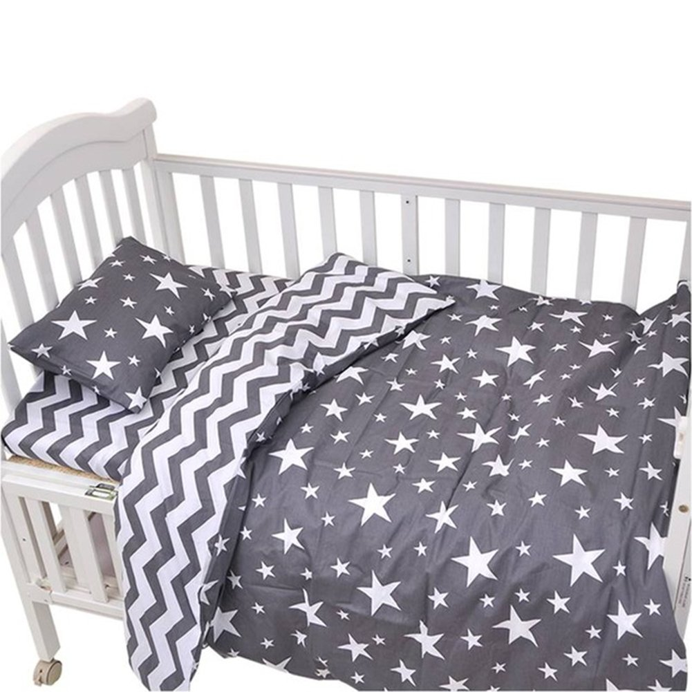 CC Shop Lovely Baby Toddler Flat Bed Sheet Not Fitted Sheet, Pillowcase, Quilt Cover No Comforter, 3pcs Crib Bedding Set (Gray Star & Stripe)
