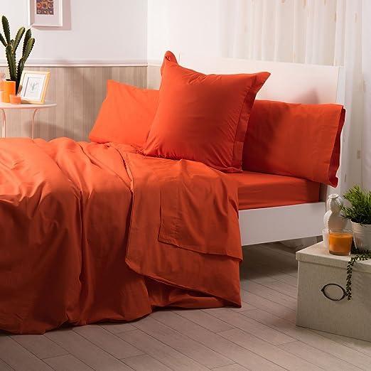 Sancarlos - Sábana bajera , 100% Algodón percal, Color naranja, Cama de 80