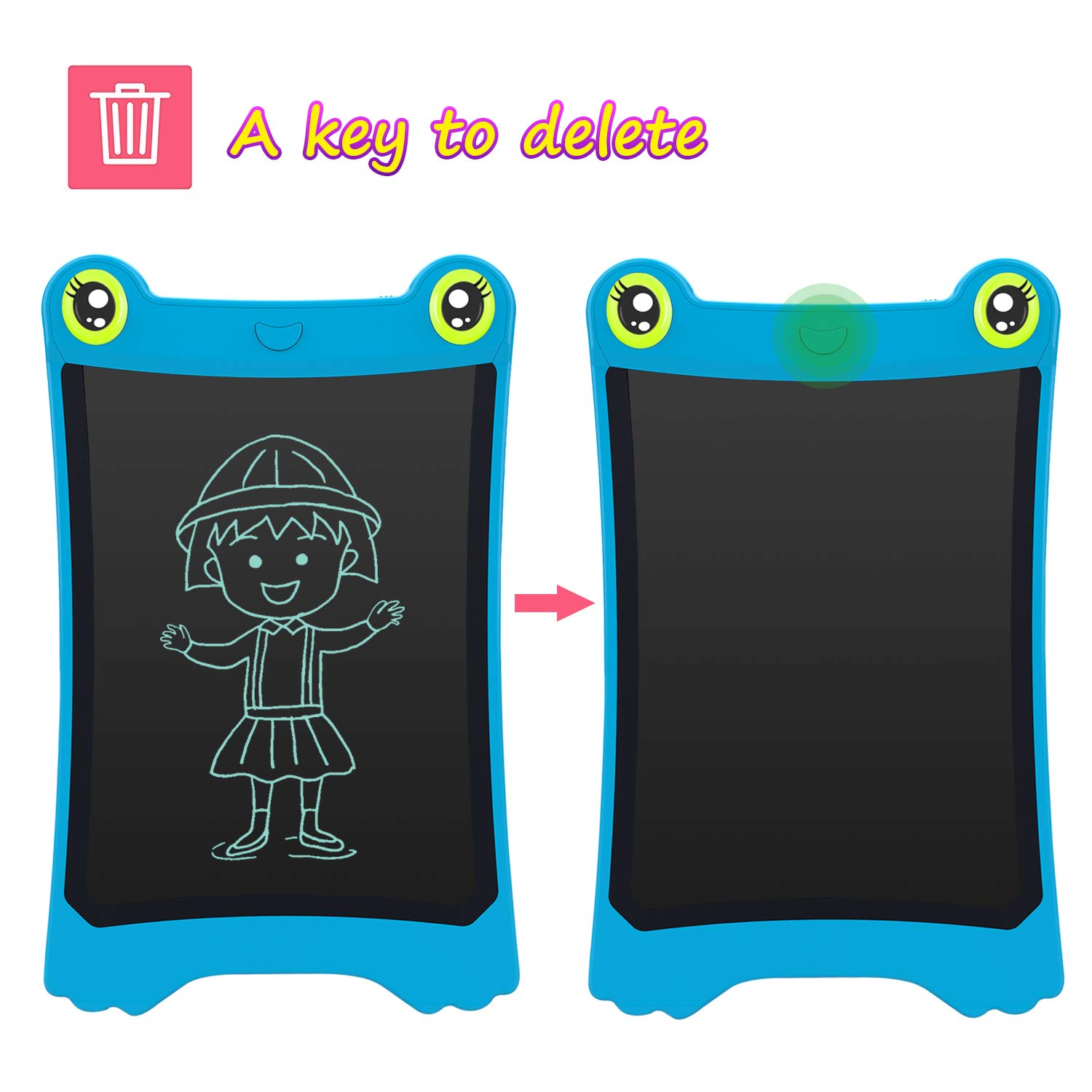 NEWYES 8.5 Inch LCD Writing Tablet Updated Frog Pad Children Electronic Doodle Board Jot Digital E-Writer Kids Scribble Toy with Lock Function Blue by NEWYES (Image #4)
