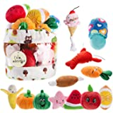 Nocciola 12 Pack Dog Squeaky Toys Cute Plush Toys for Small Medium Dog Pet Toys Squeaky Toys Plush Games  Carry Bag