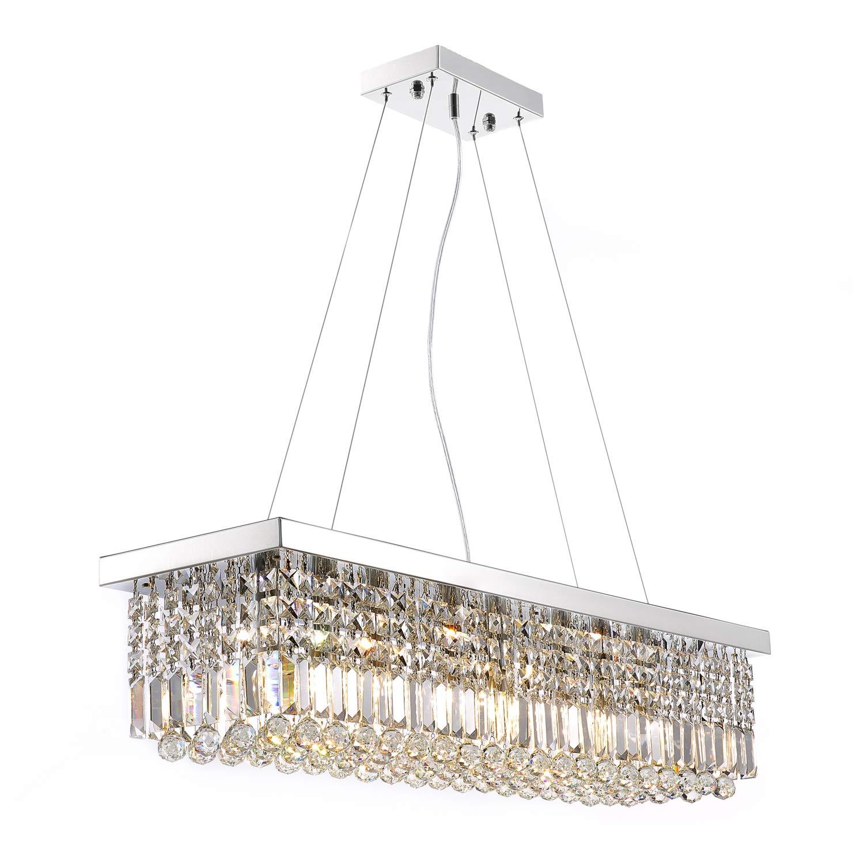 Moooni rectangular clear crystal chandelier lighting modern dining room pendant lighting polished chrome finish l47 3 x w9 8 x h9 8
