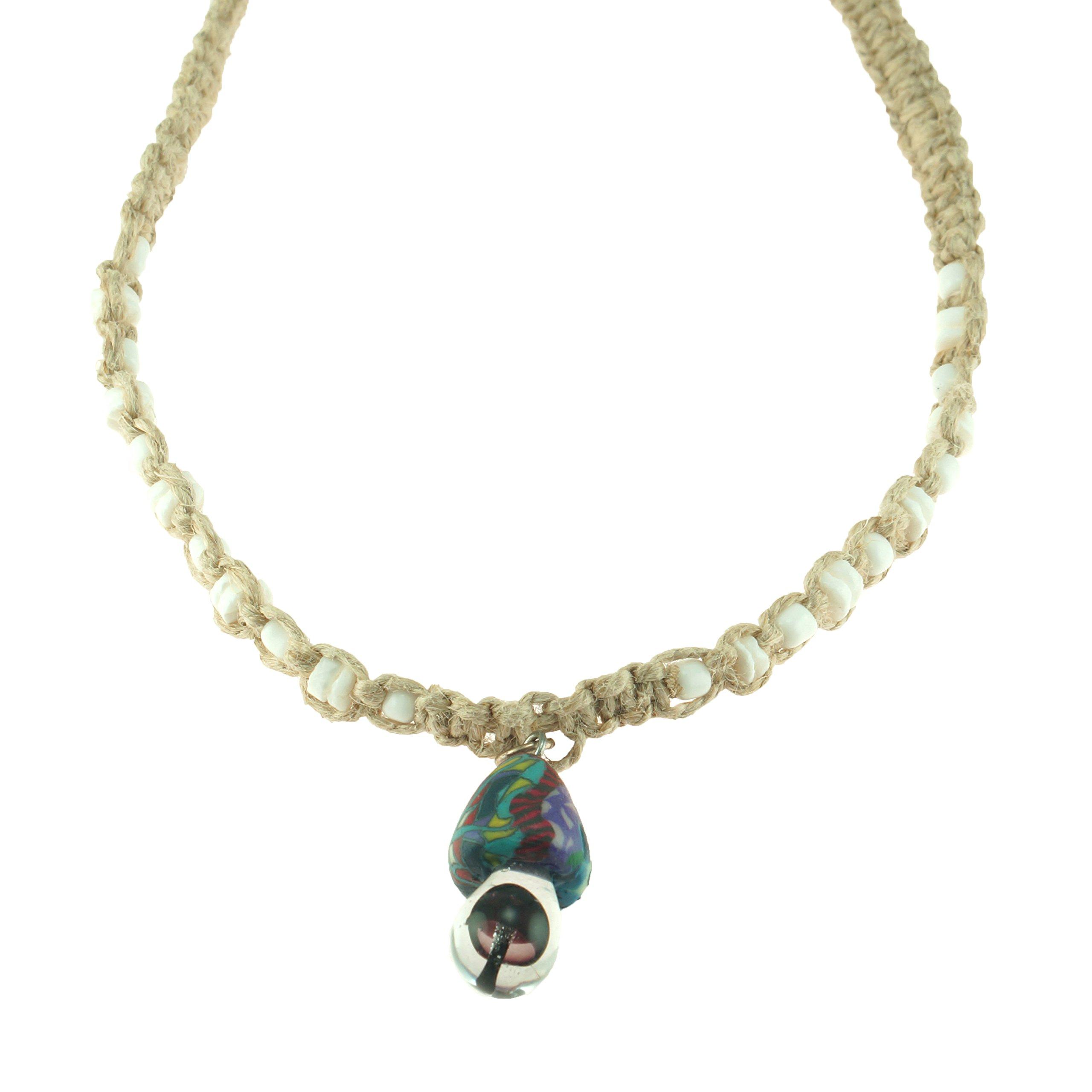 Purple fimo glass mushroom pendant on hemp choker necklace with puka purple fimo glass mushroom pendant on hemp choker necklace with puka clam shell beads aloadofball Images