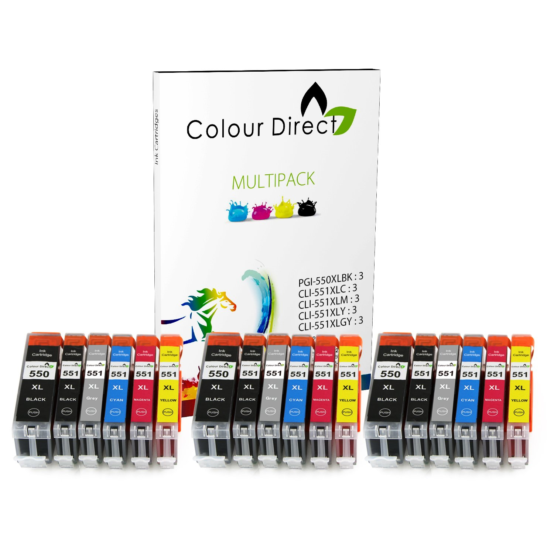 10 XL Colour Direct Compatibile cartucce d'inchiostro di ricambio per Canon CLI-551XL / PGI-550XL Pixma MG5450 MG5550 MG5650 MG6350 MG6450 MG6600 MG6650 MX925 MX725 MG7150 MG7550 iP7250 iP7200 iP8750 iX6850 Stampanti.2X Grande Nero 2X Nero 2X Ciano Magenta