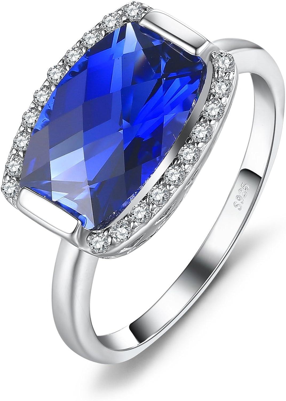 JewelryPalace Anillo Declaración Con Piedra Preciosa Topacio Zafiro Cuarzo Rubí Esmeralda Plata de ley 925