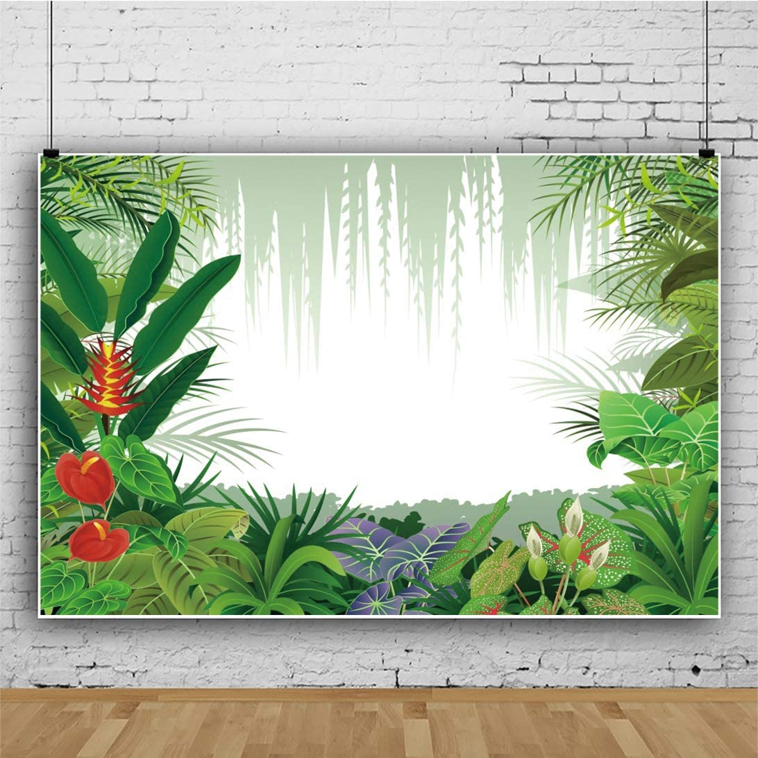 Haoyiyi 10x8ft Tropical Background SummerLeaves Green Plants Jungle Palm Tree Hawaiia Luau Backdrop Photography Children Party Dessert Table Vacation Leisure Time Photo Booth Studio