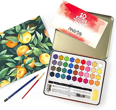 New Art Box 12 Water Colour Paints /& Brush Kids Art Craft Paint Set Watercolours