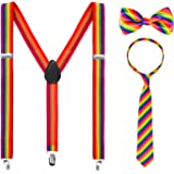 Whaline 3 Piece Rainbow Gay Pride Costume Set Include Suspenders, Bowtie and Necktie, Adjustable X Back Elastic Suspenders Unisex Rainbow Party Accessory