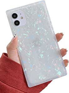 KERZZIL Cute Sparkle Glitter Square iPhone 11 Case,Chic Slim Colorful Mother-of-Pearl Translucent Soft TPU Silicone Rubber Protective Bumper Cases Cover Compatible with iPhone 11 6.1-inch(Pearl)