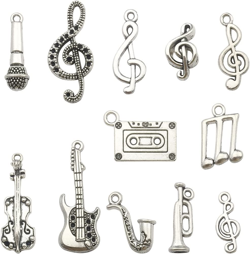 Jewelry Findings Making Accessory For DIY Necklace Bracelet Earrings Music Charm Collection-100g Craft Supplies Instrument Music Notes Charms Pendants for Crafting
