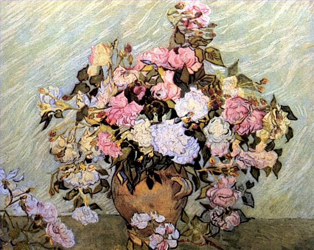 手描き-キャンバスの油絵 - 静物 Vase with Roses フィンセントファンゴッホ 芸術 作品 洋画 ウォールアートデコレーション VVG4 -サイズ11 B07H7MV47F  36 x 48 インチ