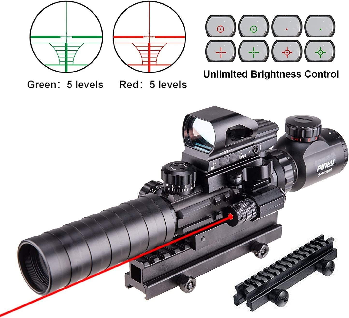 Pinty Rifle Scope 3-9×32 Rangefinder Illuminated Reflex Sight 4 Reticle Red Dot Laser Sight with 14 Slots 1 inch High Riser Mount