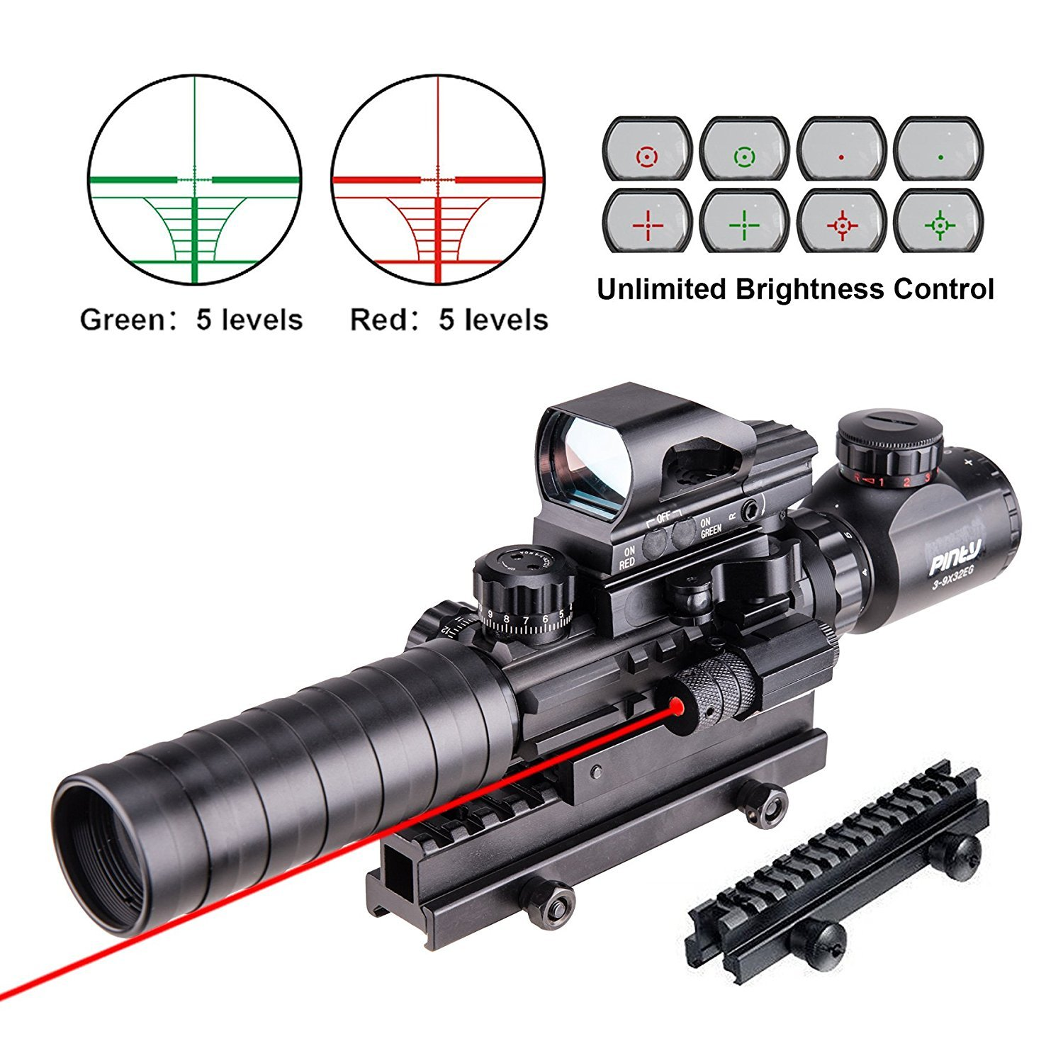 "Pinty AR15 Rifle Scope 3-9x32EG Rangefinder Illuminated Reflex Sight 4 Reticle Red&Green Quick Release Red Dot Laser Sight with 14 Slots 1"" Compact High Riser Mount"
