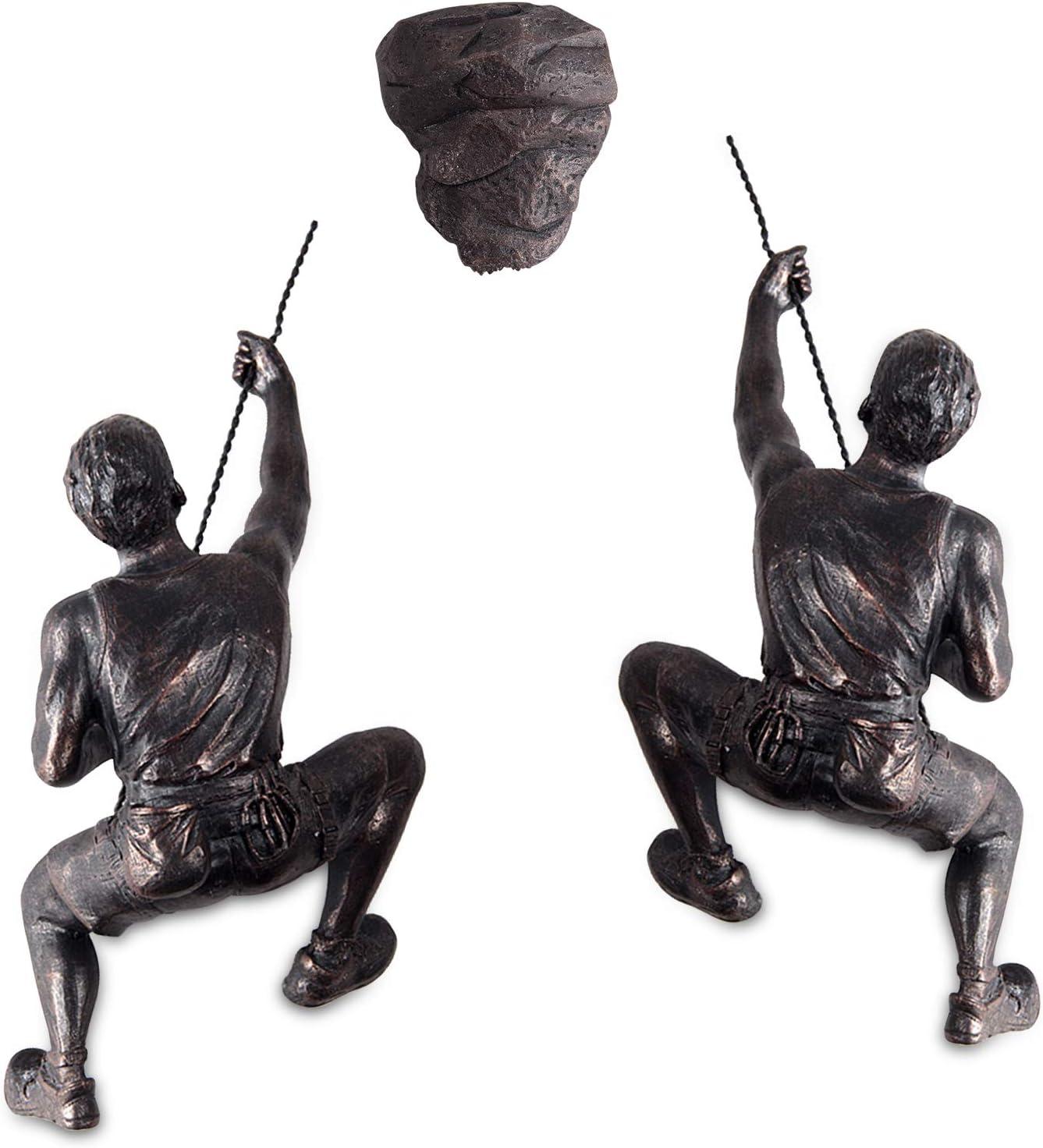 Olpchee Men Climbing Wall Sculpture Resin Art Wall Sculptures Home Decor Vintage Statue Figure Kit for Home Office Shop 3Pcs/Set (Copper Black)